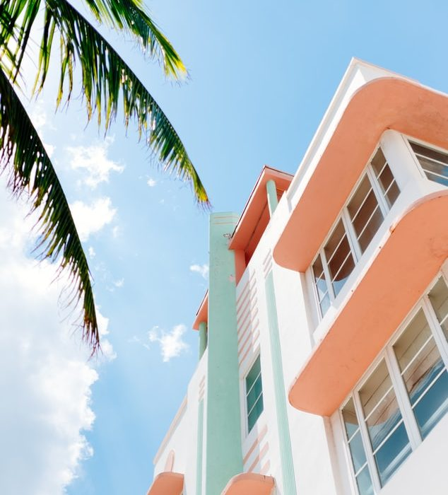 Art Deco style building in pastel